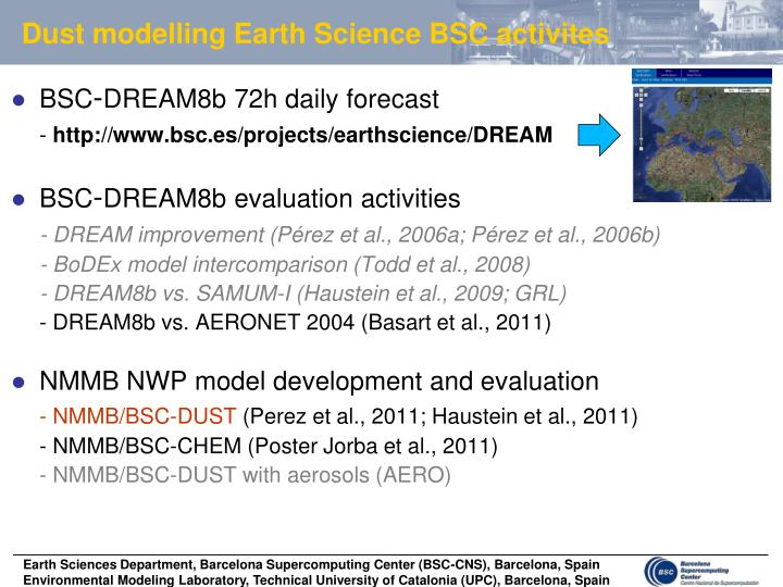 dust modelling earth science bsc activites n.