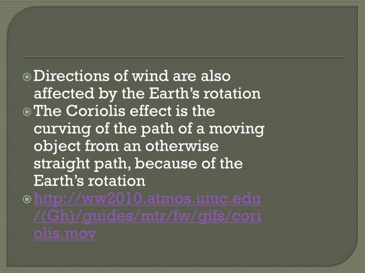 Directions of wind are also affected by the Earth's rotation