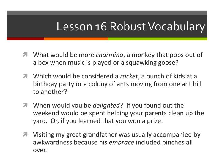 lesson 16 robust vocabulary n.