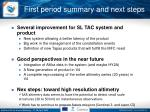 first period summary and next steps