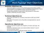 work package main objectives