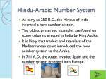 hindu arabic number system