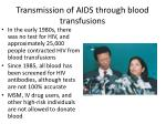 transmission of aids through blood transfusions