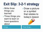 exit slip 3 2 1 strategy