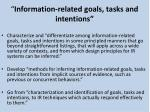 information related goals tasks and intentions
