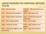 higher standard for christians matthew 5 21 48