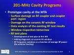 201 mhz cavity programs