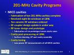 201 mhz cavity programs2