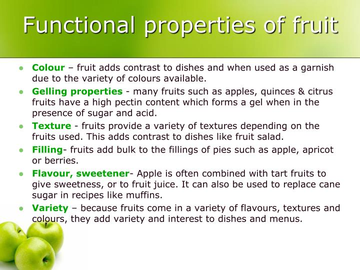 Functional properties of fruit