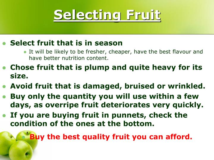 Selecting Fruit
