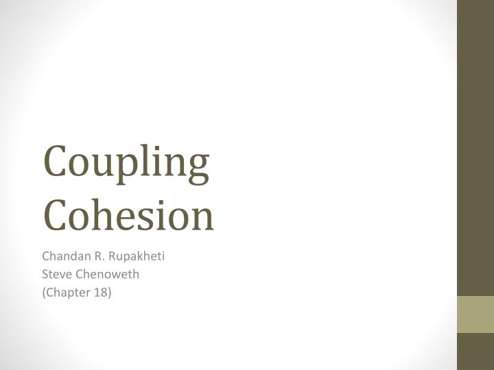 coupling cohesion n.