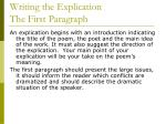 writing the explication the first paragraph