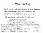 hww couplings