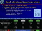 bunch intensity and beam beam effects