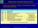milestones reached during 2010