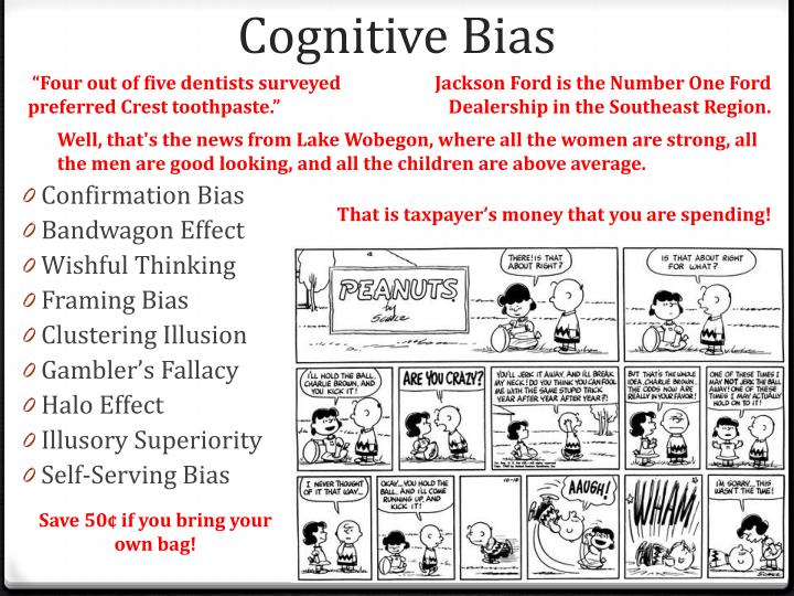 documented congitive biases The godfather of bias detection is daniel kahneman, who won the nobel prize for his work he revealed that intuition, even in matters we know a lot about, can be awful for example, imagine two maternity hospitals, one large, one small in a week, 60 per cent of births are female which hospital is.