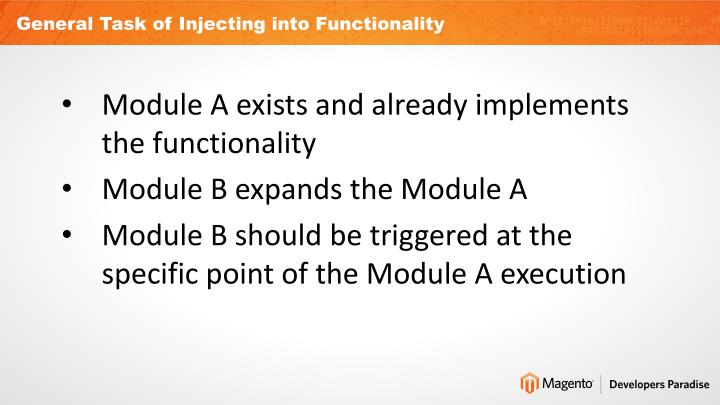 General Task of Injecting into Functionality