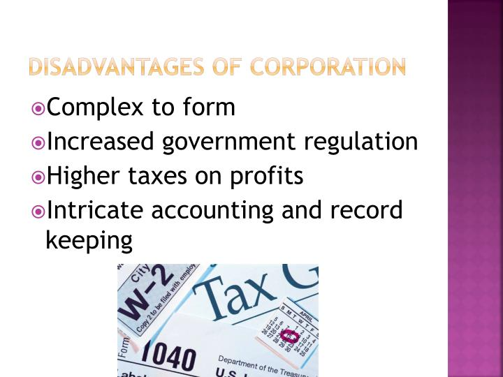 Disadvantages of corporation