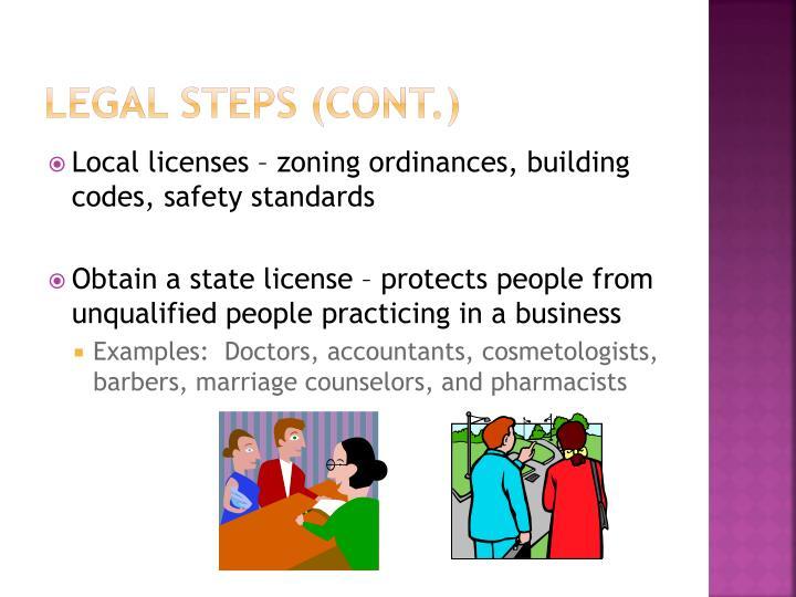 Legal Steps (cont.)