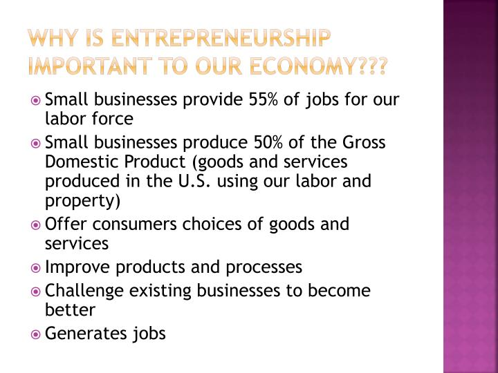 Why is entrepreneurship important to our economy???