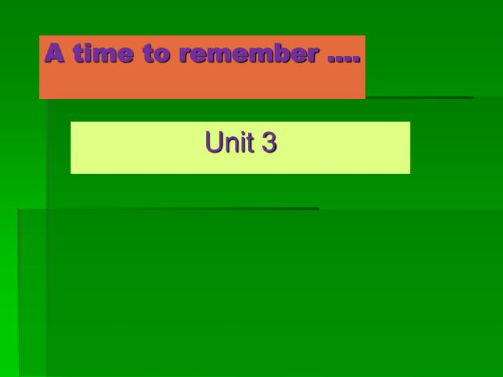 a time to remember n.