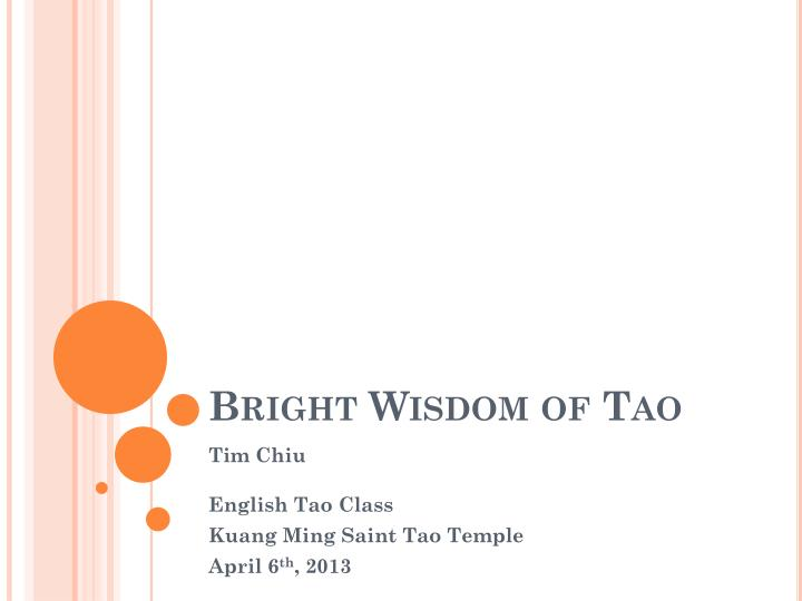 bright wisdom of tao n.