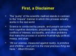 first a disclaimer