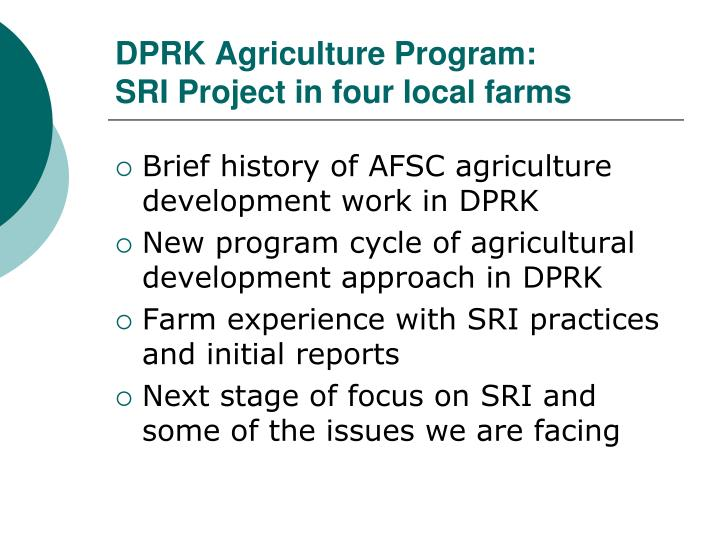 dprk agriculture program sri project in four local farms n.