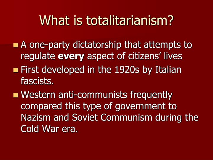 characteristics of totalitarianism The factors representing characteristics of totalitarian include its advantages, disadvantages and structure.