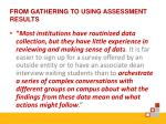 from gathering to using assessment results
