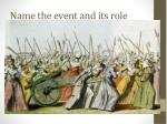 name the event and its role2