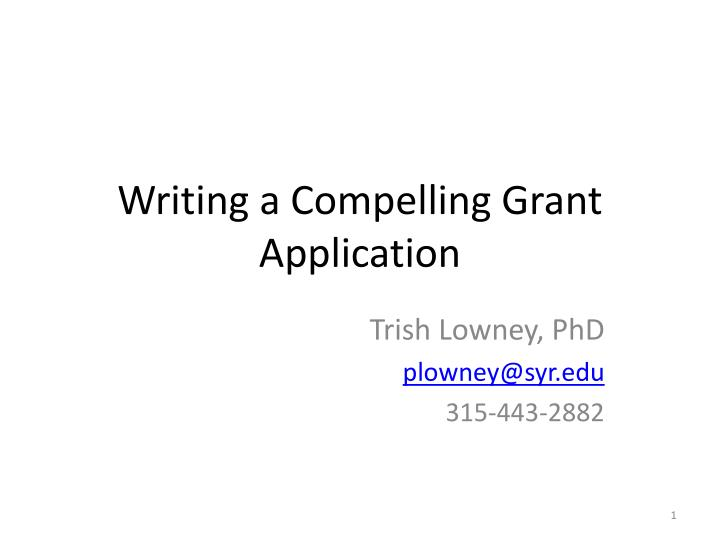 writing a compelling grant application n.