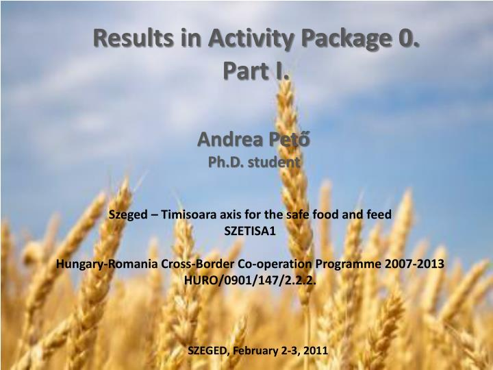 results in activity package 0 part i n.