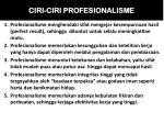 ciri ciri profesionalisme