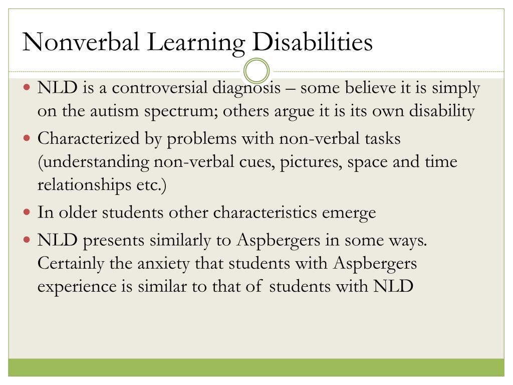 What Is Non Verbal Learning Disorder >> Ppt Anxiety Disorders Non Verbal Learning Disabilities