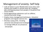 management of anxiety self help