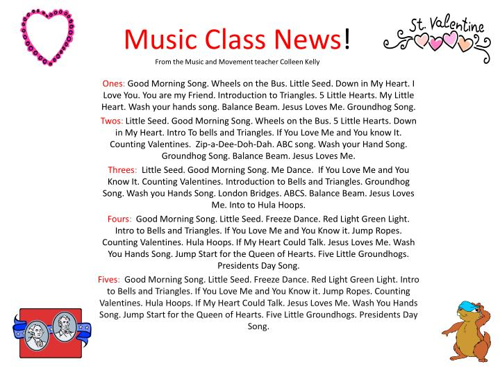 music class news from the music and movement teacher colleen kelly n.