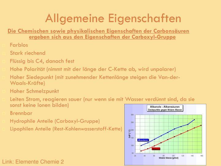 Carbonsäure Eigenschaften