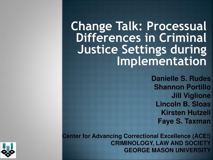 change talk processual differences in criminal justice settings during implementation n.