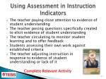 using assessment in instruction indicators