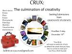 crux the culmination of creativity