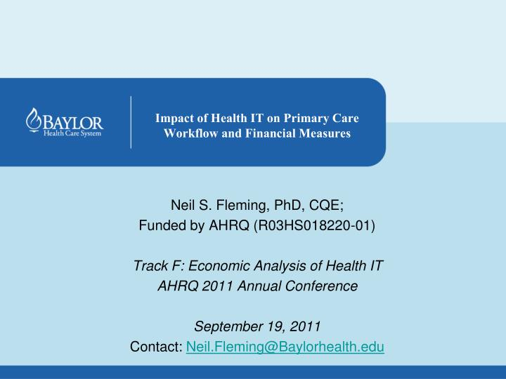 impact of health it on primary care workflow and financial measures n.