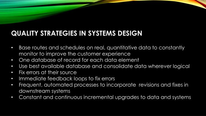 QUALITY STRATEGIES IN SYSTEMS DESIGN
