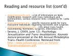 reading and resource list cont d