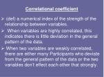 correlational coefficient