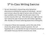 5 th in class writing exercise