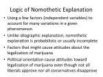 logic of nomothetic explanation