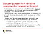 evaluating goodness of fit criteria assessment of measurement model