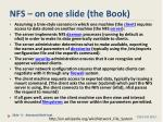 nfs on one slide the book
