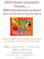 meps student association presents 2009 international luncheon yes its that time of the year again1